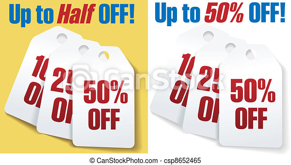 Clipart Vector of Discount price tags 50 percent off sale - Two ...