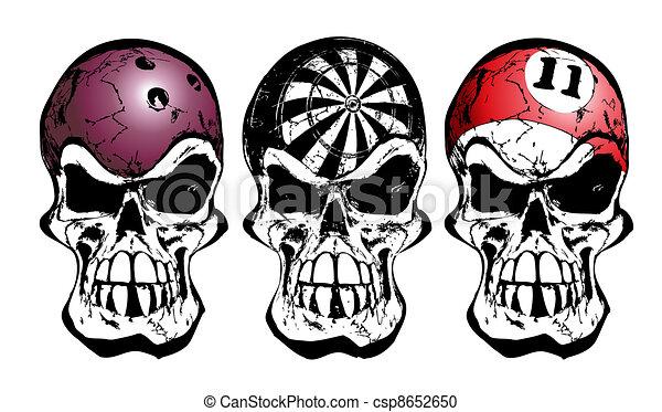 bowling, darts and billiard skulls - csp8652650