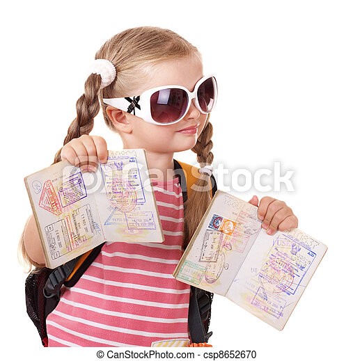 Child holding international passport. - csp8652670