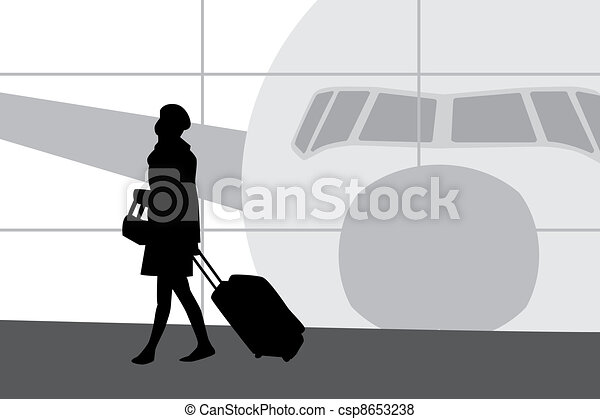 Woman in airport silhouette - csp8653238