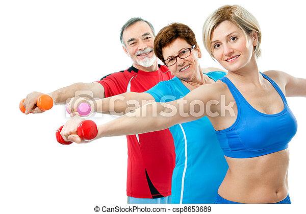 Seniors doing fitness exercises - csp8653689