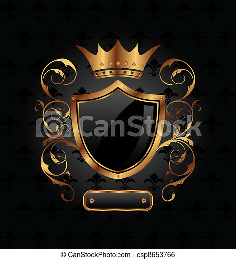 ornate heraldic shield with crown - csp8653766