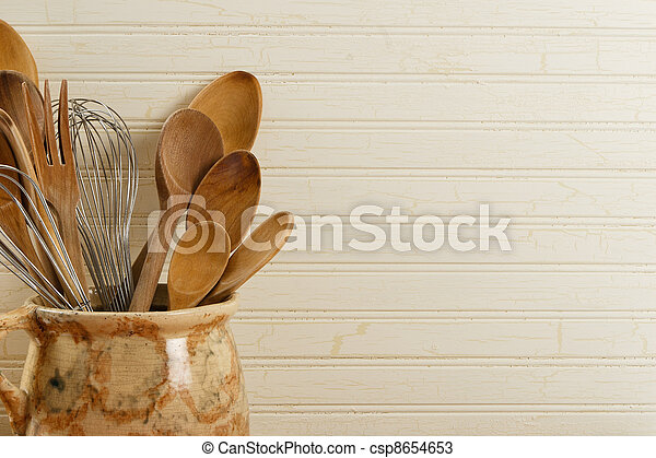 Wooden Spoons And Wire Whisks  - csp8654653