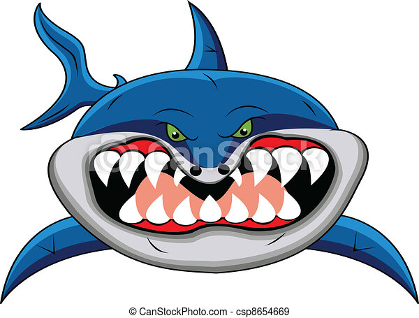 funny shark cartoon - csp8654669