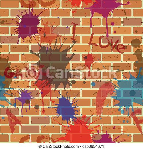 seamless dirty brick wall, graffiti, paint - csp8654671