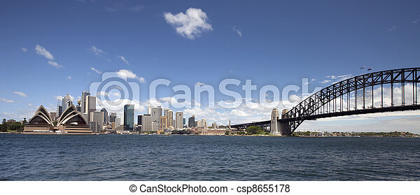 Sydney Harbour Bridge and downtown - csp8655178