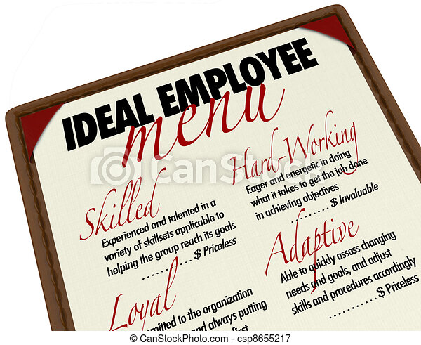 Ideal Employee Menu for Choosing Job Candidate - csp8655217