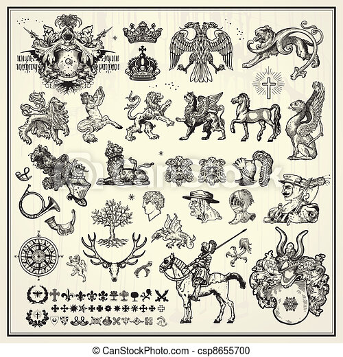heraldic design elements - csp8655700