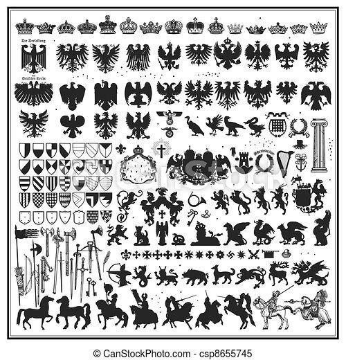 Silhouettes of heraldic design - csp8655745