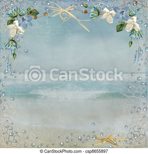 Stock Illustrations of nautical border on ocean background - Nautical ...