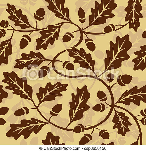 oak leaf acorn seamless background - csp8656156