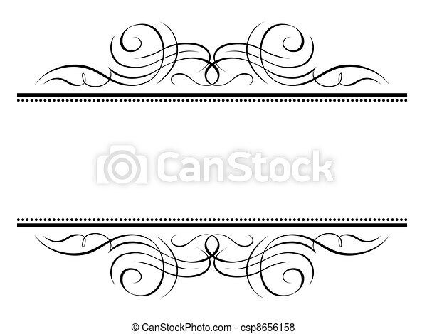 calligraphy vignette ornamental penmanship decorative frame - csp8656158