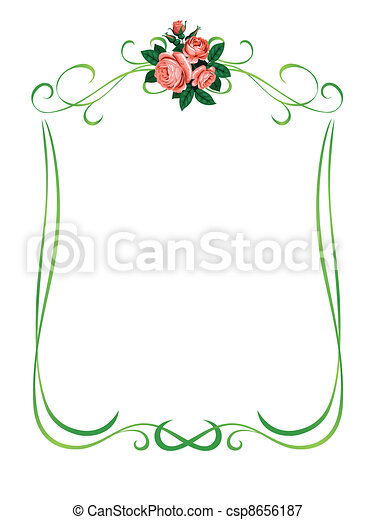 roses frame pattern background - csp8656187