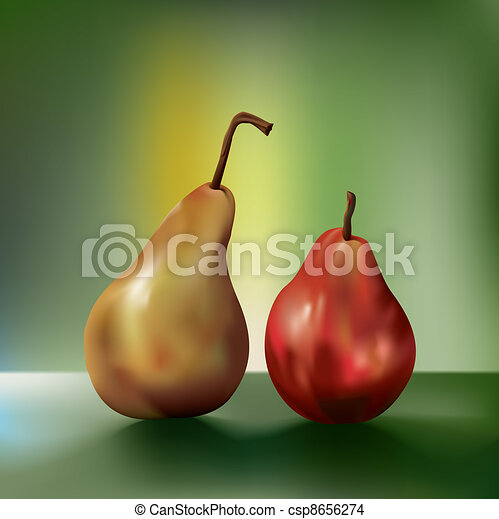 Dramatic oil painting-like two juicy pears sitting side by side. The pear on the left looks like it's saying something to the one the right through it's bent stem. - csp8656274
