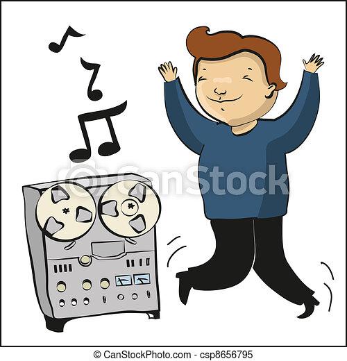 cartoon boy listen music and dance - csp8656795