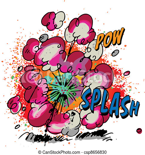 Vector Clipart of Explosion - Comic book style explosion ...