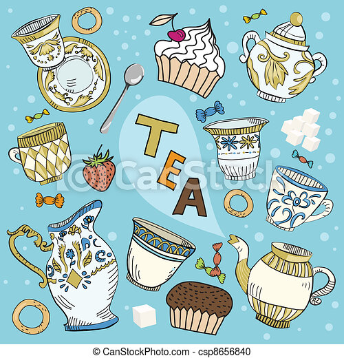 Cartoon Victorian tea set - csp8656840