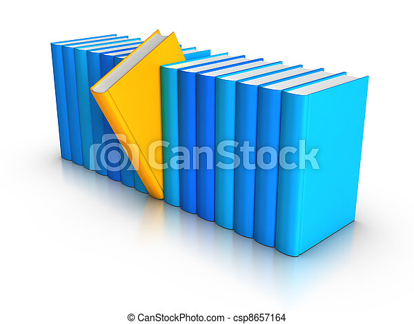 Row of Colourful Books - Standing out from crowd - csp8657164