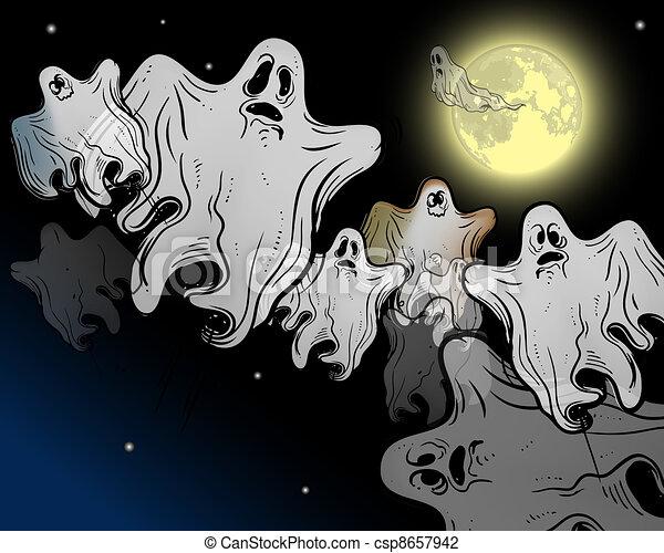 Moonlight flying ghosts - csp8657942