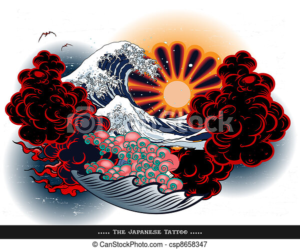 Japan tattoo style landscape - csp8658347