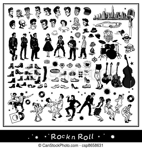 Vector Clip Art of Rock n Roll elements isolated on light ...