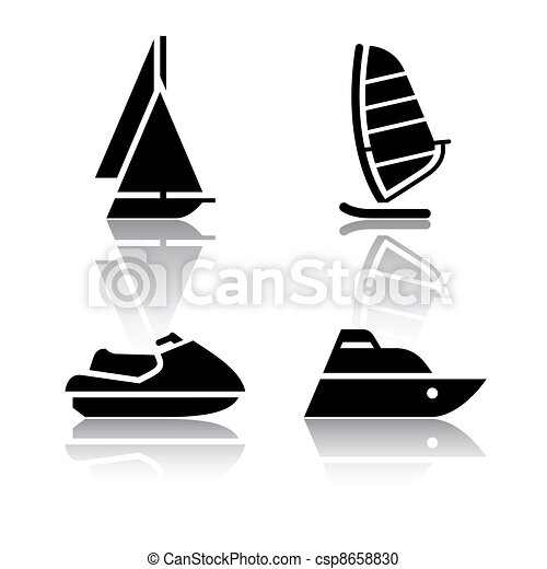 Set of transport icons - boats - csp8658830
