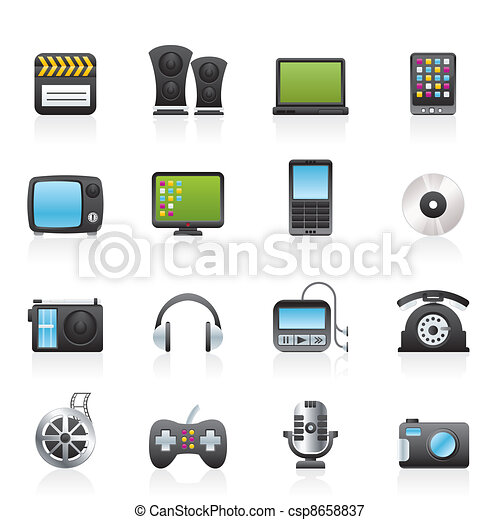 multimedia and technology icons  - csp8658837
