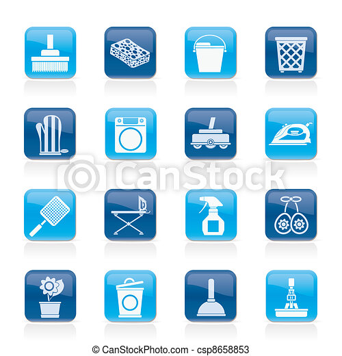 Household objects and tools icons - csp8658853