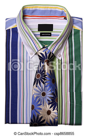 a stripped shirt with colorful tie - csp8658855