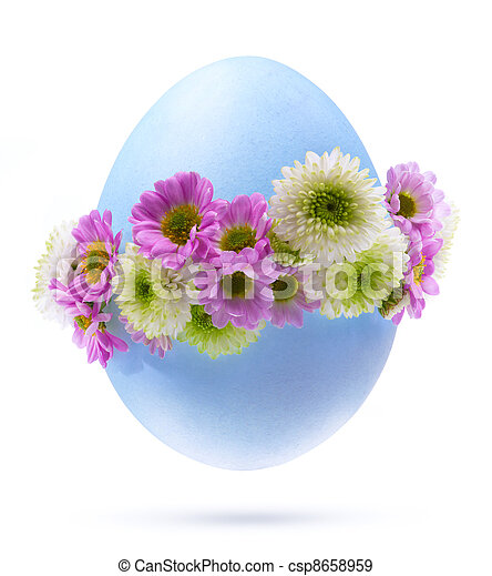 Art Easter egg decorated by flowers Isolated on white background - csp8658959