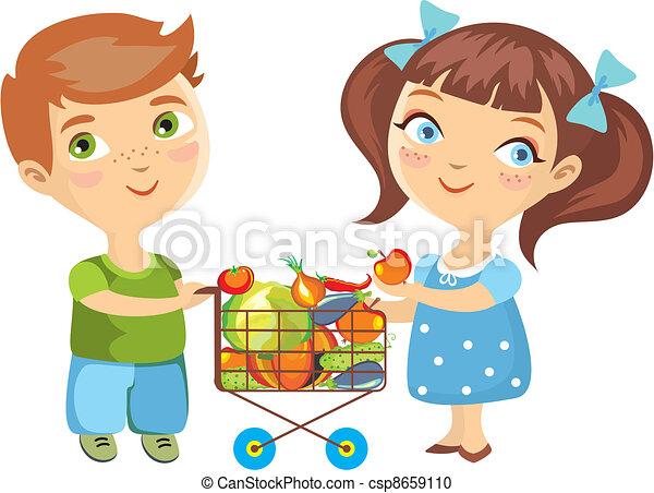 children purchase vegetables isolat - csp8659110