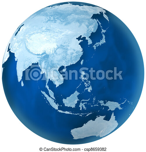 Blue Earth Asia and Australia - csp8659382