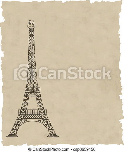 the vector eiffel tower on old paper - csp8659456