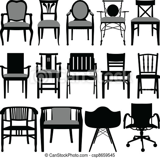 Clipart vettoriali di sedia, disegno - à, set, silhouette ...