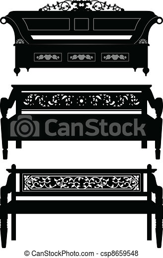 Asian Antique Chair Bench Furniture - csp8659548