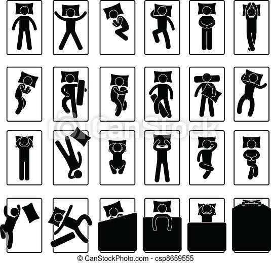 Vecteur clipart de position style sommeil lit attitude - Position du lit ...