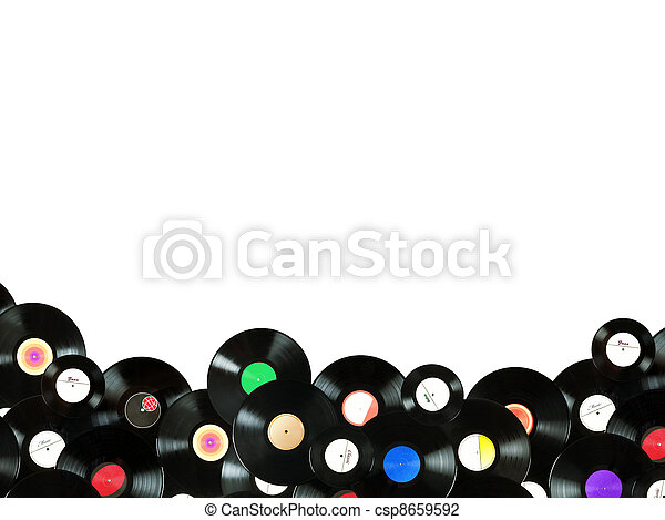 Abstract music colorful background made of vintage vinyl records, isolated over white background, all labels designed by myself - csp8659592