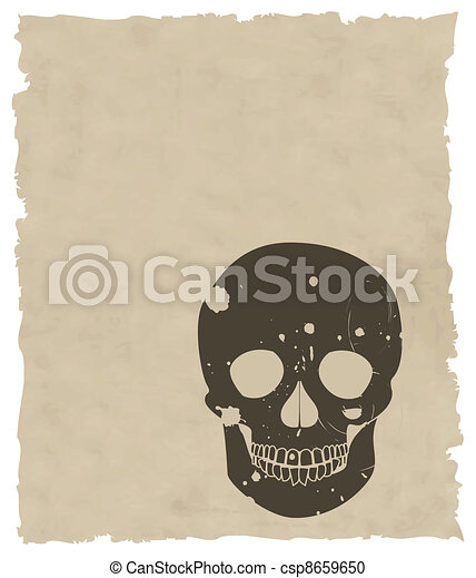the brown vector grunge skull on old paper - csp8659650