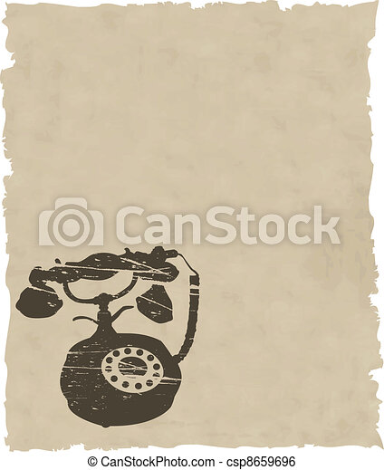 vector old phone on brown paper - csp8659696