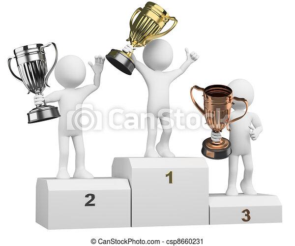 3D athletes on the podium of winners - csp8660231