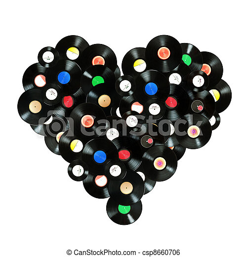"""Concept """"We love music"""" colorful heart shape made of vintage vinyl records, isolated over white background, all labels designed by myself  - csp8660706"""