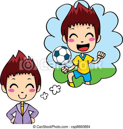Kid - Cute little boy dreaming being a... csp8660884 - Search Clip Art ...
