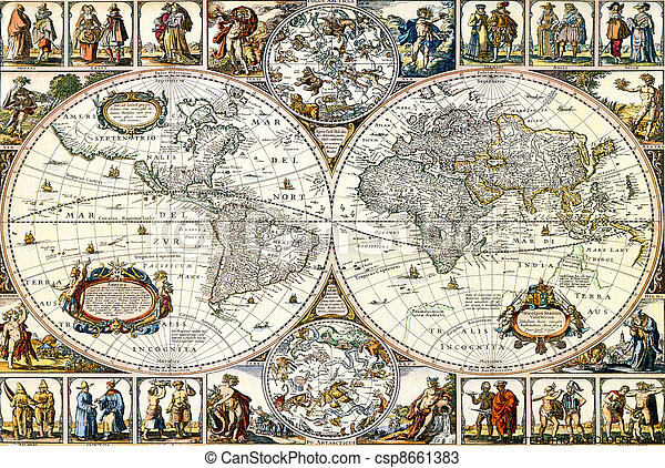 Old paper world map. - csp8661383