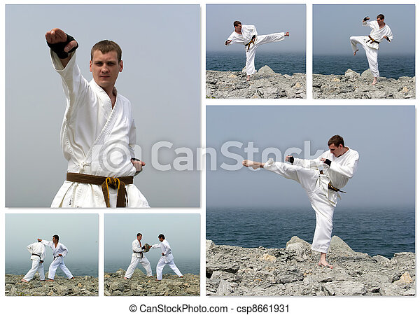 Karate fight collage. Made of six photos.