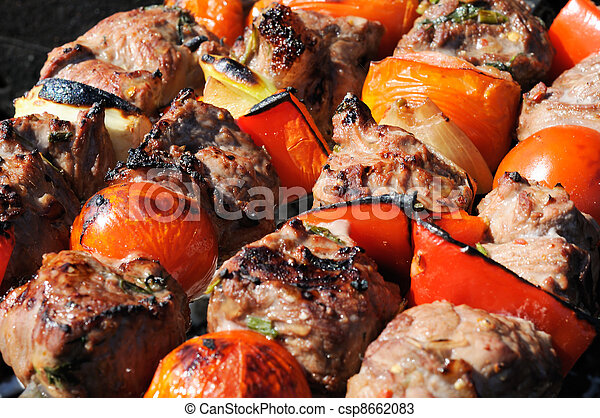 Kebabs, threaded on a skewer and grill - csp8662083