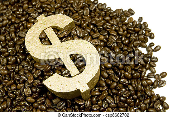 gold dollar in coffee beans - csp8662702