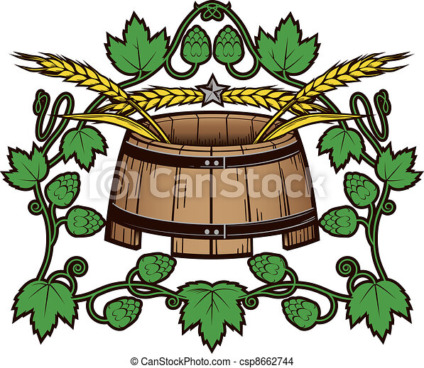 Beer Barrel Drawing Hops 'n Wheat Barrel Drawing