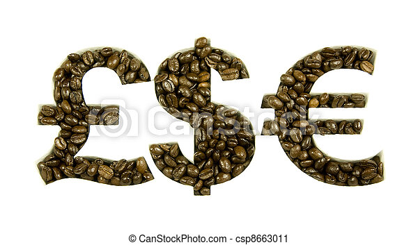 coffee beans in money shapes - csp8663011