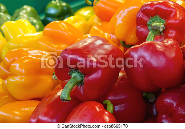 Red Yellow and Green Bell Peppers - csp8663170