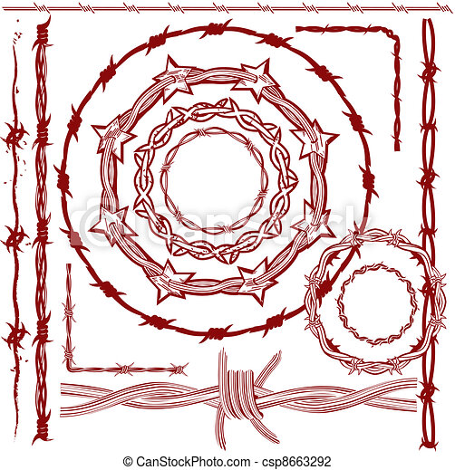 Rusty Barbed Wire Collection - csp8663292